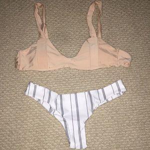 Other - NWOT peach and striped bikini set